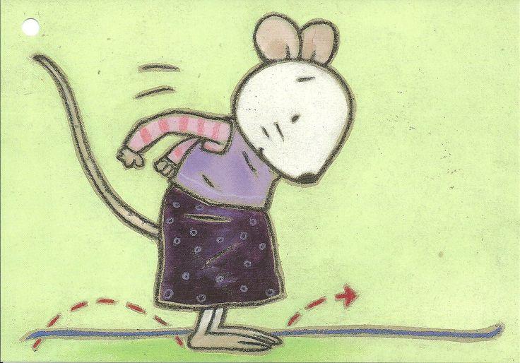 Bewegingskaart 'springen over het touw, links, rechts'
