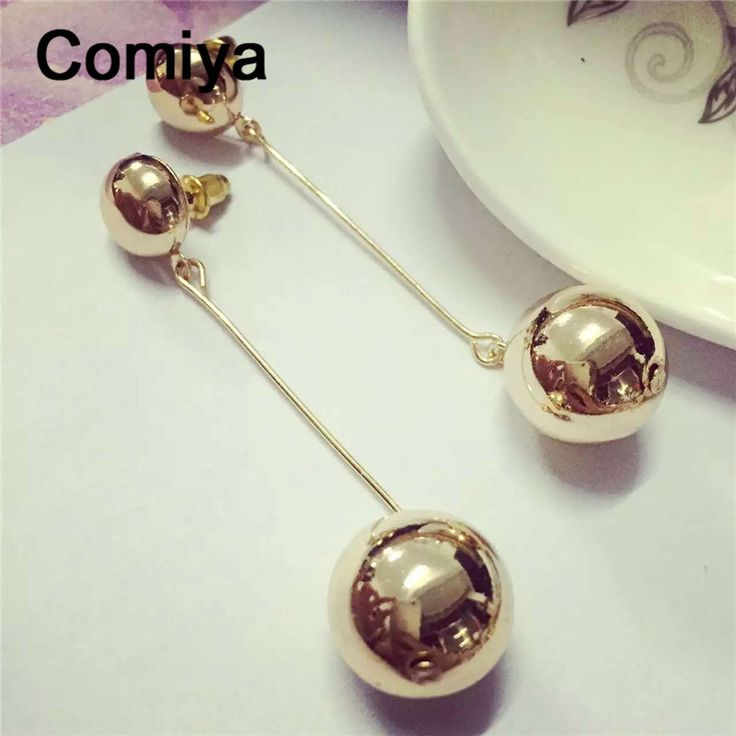 Comiya golden plated round ball pendants drop earrings european stylish boucle d'oreille metal dangle earring indian jewelry
