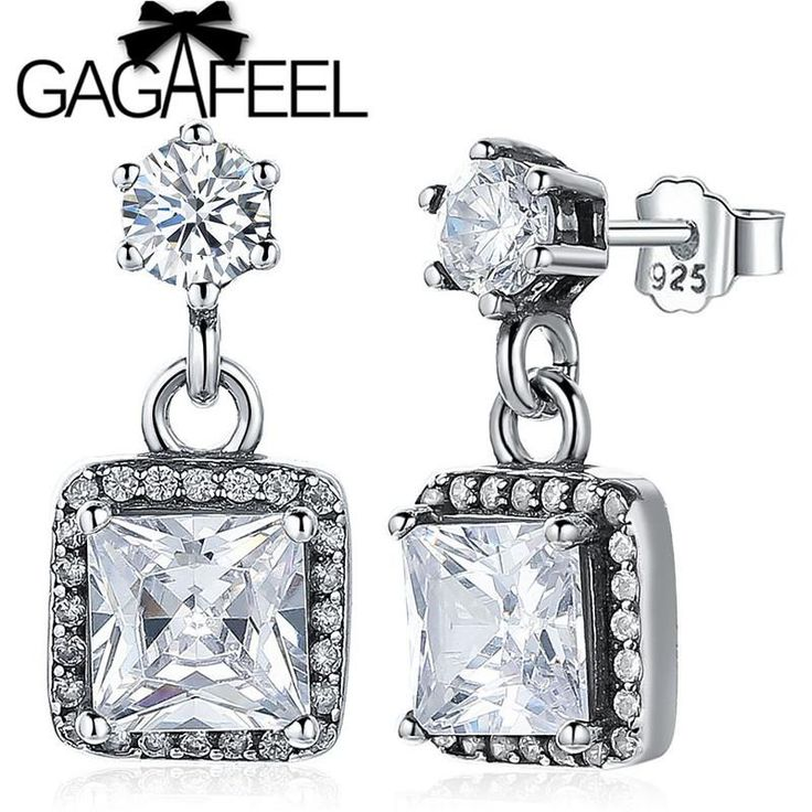 GAGAFEEL Real 925 Sterling Silver Square Drop Earrings with White CZ Crystal Timeless Elegance Dangle Earrings Women Jewelry