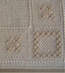 Based upon 15th century floor tiling and interpreted using well know stitches, this repeat pattern mat is worked on 25 count linen in cream threads on cream linen. Registration Send a completedenr…