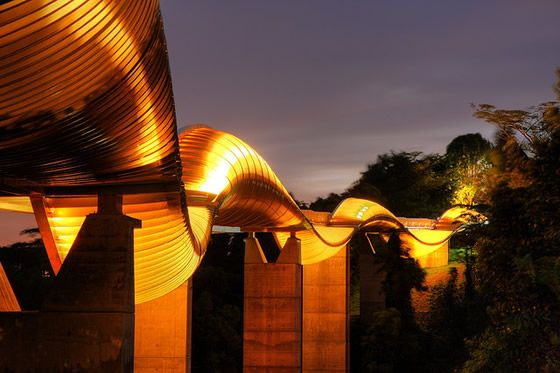 Henderson Wave Bridge. Discover the splendid and futuristic atmosphere in a    meter bridge with just a short hike. Come at night, the LED along the bridge will blow your mind #SGTravelBuddy