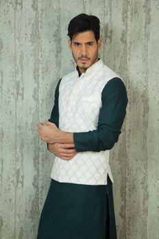 Silk jacket embellished with resham work from #Benzer #Benzerworld #Indowesternwearformen