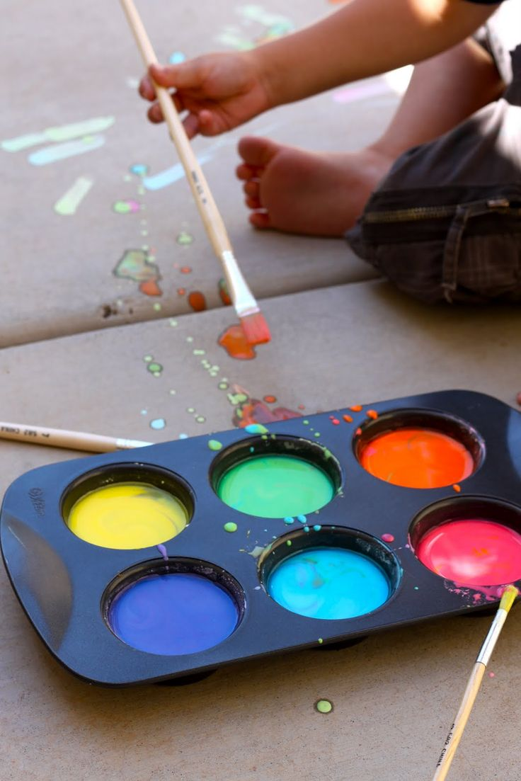 Liquid Sidewalk Chalk:  mix 1 cup of water with 1 cup of cornstarch. Then pour it into muffin tins or small cups. Next, add food coloring to make the colors you would like. (Use food coloring gels and  for bright and vibrant colors)  Paint with your toes... paint with your eyes closed...