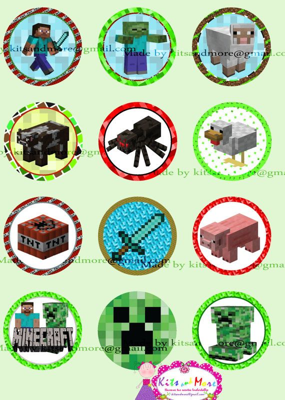 Minecraft cupcake topper, 2 inches, 12 different,
