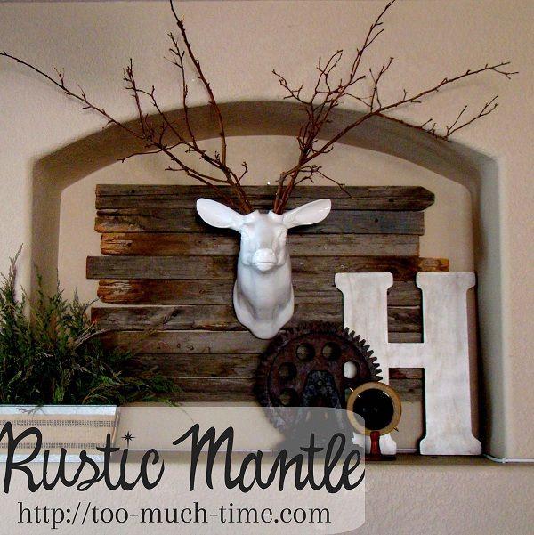 Rustic Industrial Mantle & Ceramic Deer Head