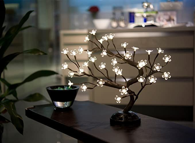 Amazon Com Lightshare 16inch 36led Cherry Blossom Bonsai Light Warm White Battery Powered And Pl In 2020 Christmas Night Light Cherry Blossom Bonsai Tree Night Light