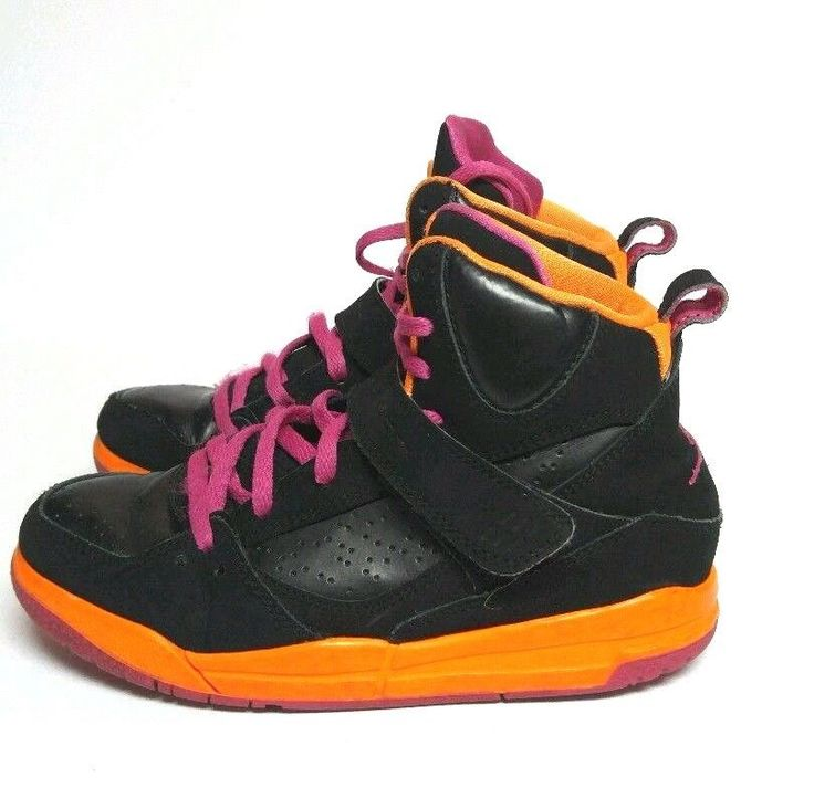 Nike Jordan Flight 45 High Shoes Girls Sz 1 Black Orange Pink 524863‑028  #Jordan #Athletic