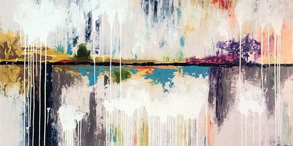 Nanaimo 72 x 36 Inches Acrylic Abstract Painting by acasaARTstudio