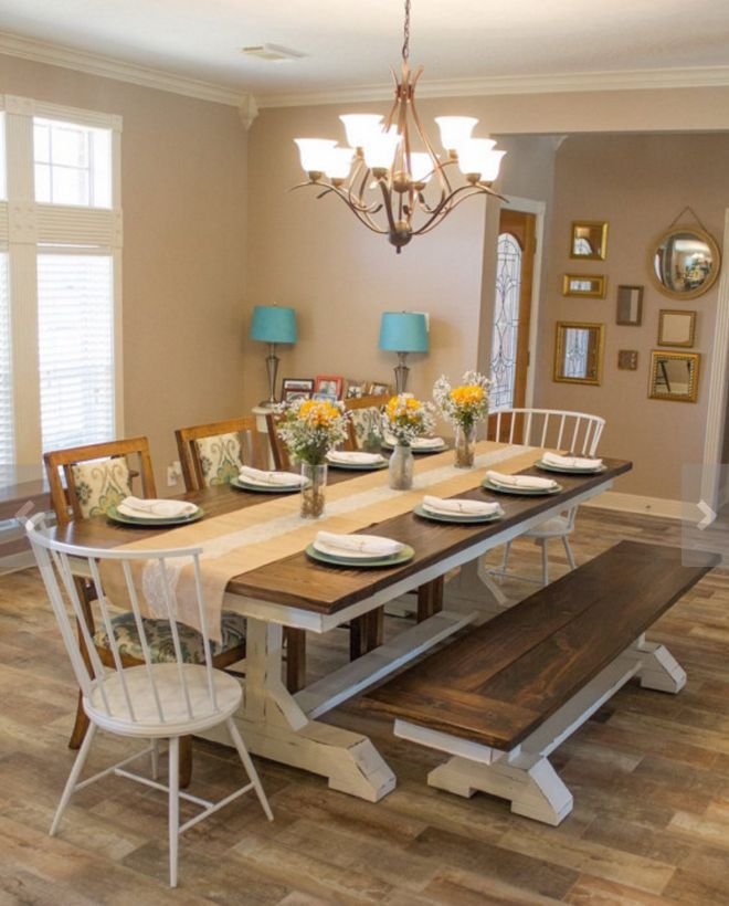 Long Trestle Farmhouse Dining Table With Espresso Top And White Painted Legs Matching Bench