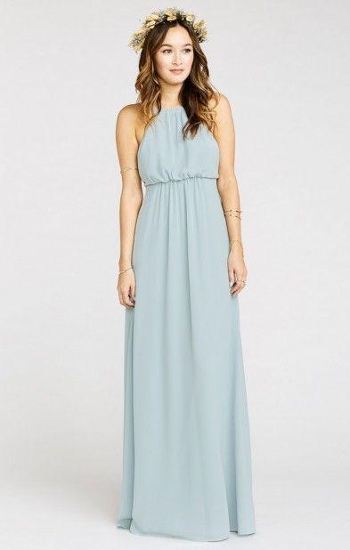 Light blue chiffon bridesmaid dresses   Amanda Maxi Dress ~ Steel Blue Chiffon