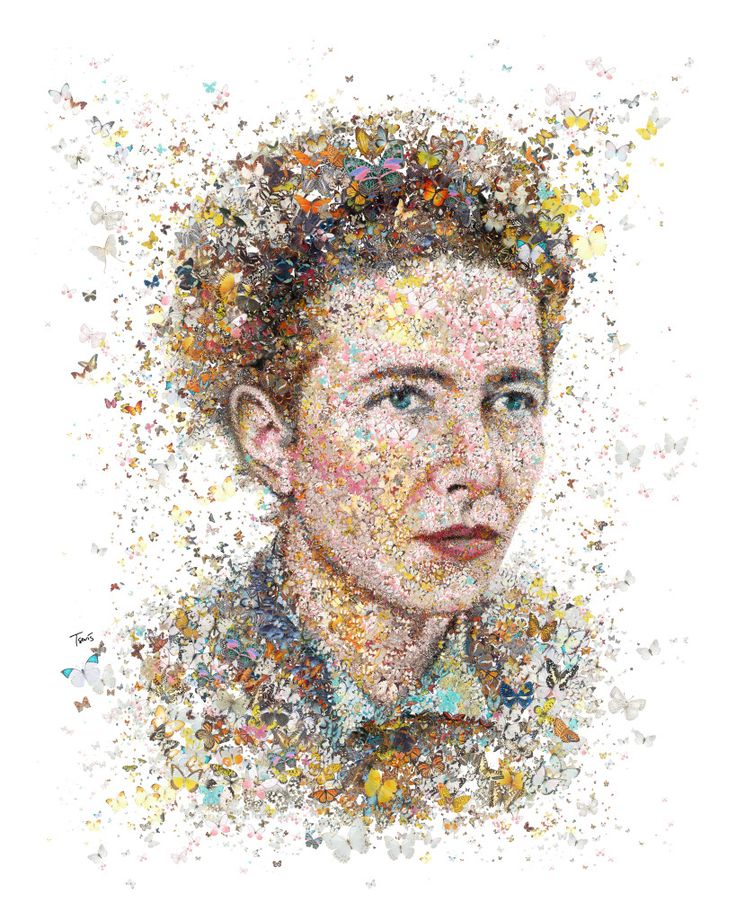 Mosaic portrait of Simone De Beauvoir made out of butterflies. Created for Womankind magazine in Australia.