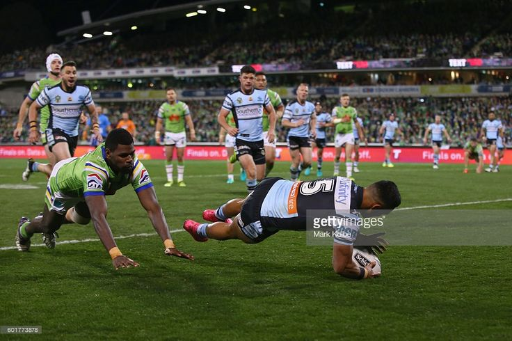 Valentine Holmes of the Sharks scores a try during the NRL Qualifying Final…