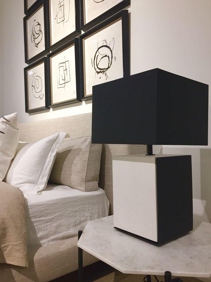 Darryl Carter for Milling Road #Hammil bed, #Edge table lamp, #Adair bunching table #cocoonshowroom #insidecocoonfurnishings
