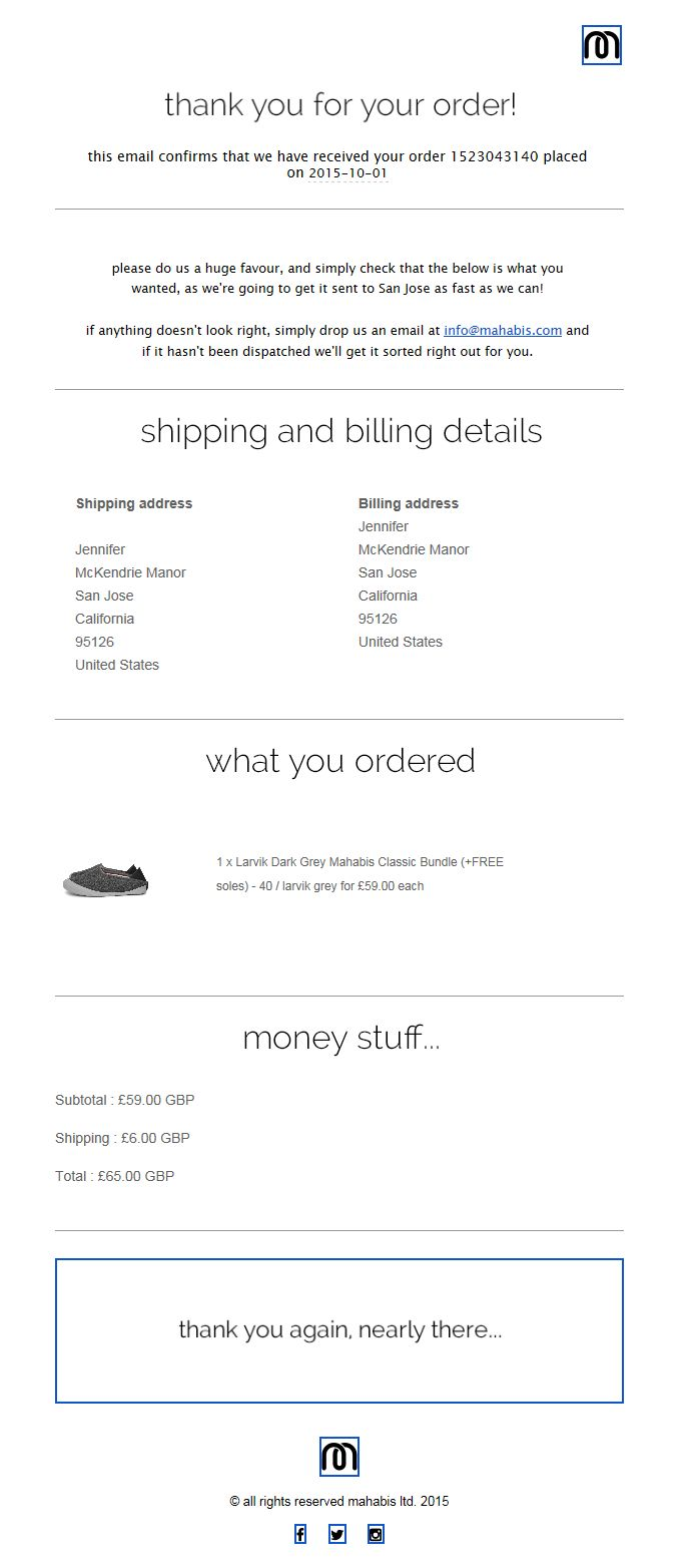 Mahabis Transactional Email // SL: mahabis // thank you and order confirmation for 1523043140 // Sent 10-01-2015 1:57 PM ( immediately after purchase)