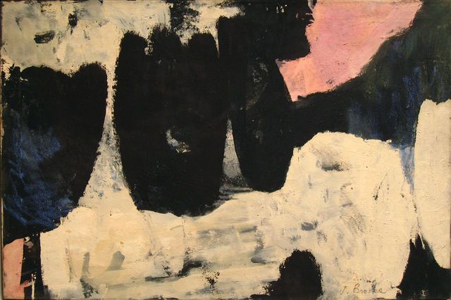 'Z' (1954) by American artist James Brooks (1906-1992). Oil and crayon on osnaburg, 24 x 36 in. via Manny Silverman on artsy