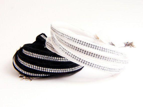 Black Swarovski multi strand bracelet, black wrap bracelet, black multi strand crystal bracelet