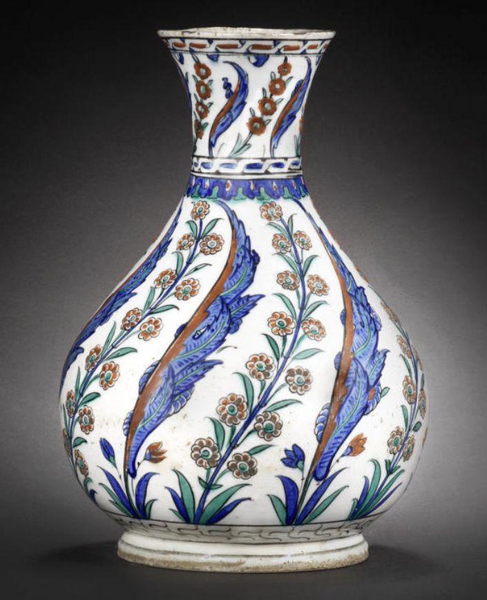 A rare, large Iznik pottery Water Bottle (surahi) Turkey, 1575