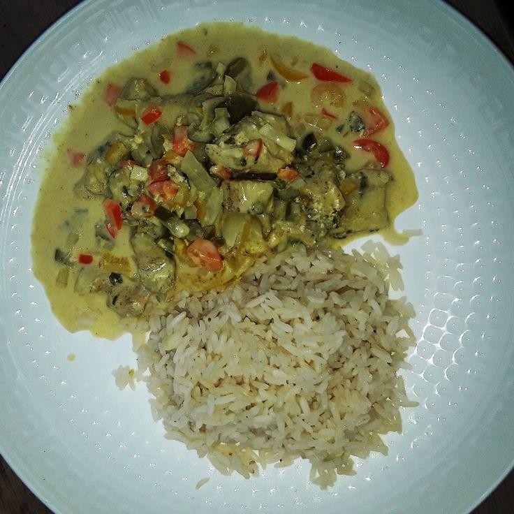 Curry de poulet au lait de coco Ananas, riz cuisson vapeur . Poivrons, vapeur, recette, cuiseur vapeur, 3 paniers, silvercrest, miele, seb, tefal, cuisine, poulet, chicken, minceur, low calories, pas cher.