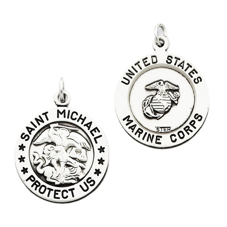 925 Sterling Silver St Michael Us Marines Medal Charm Pendant - 26mm