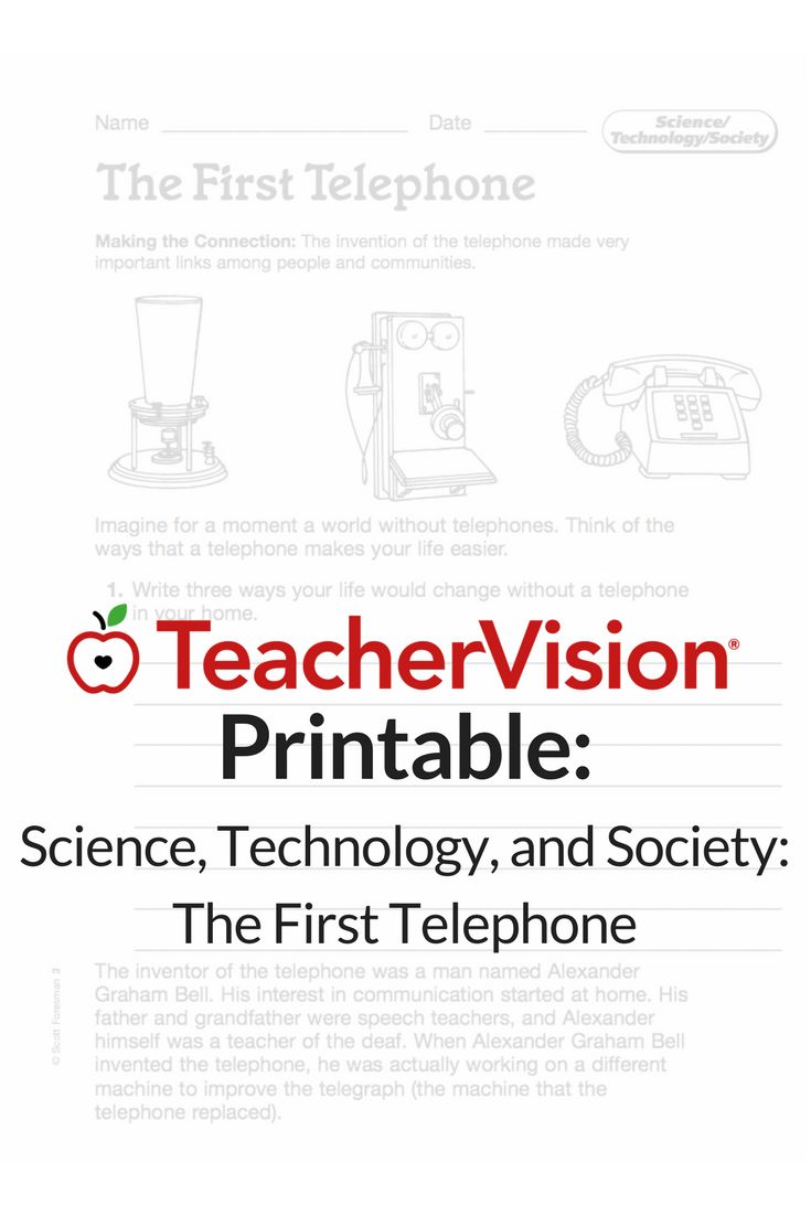 Science, Technology, and Society: The First Telephone | With this printable worksheet, students read about Alexander Graham Bell and his invention of the telephone. They are encouraged to discuss the process of invention. (Grade 3)