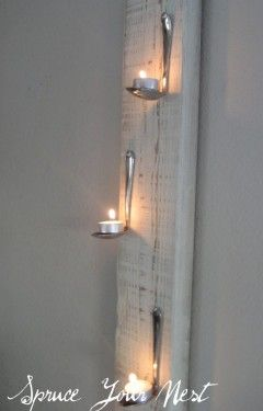 The cutest way to hang tea lights! Photo by Spruce Your Nest