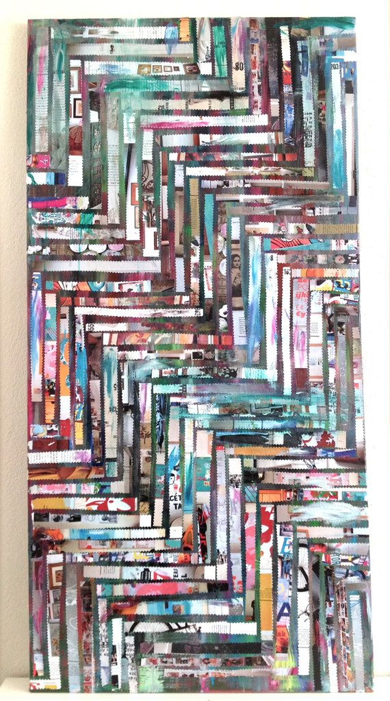 PAINTING the80  abstract collage mixed media by PHUNkITLAURENLEE, $444.00