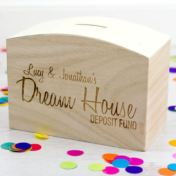 Wooden Money Box  Dream House Fund  Personalised Money by Mirrorin