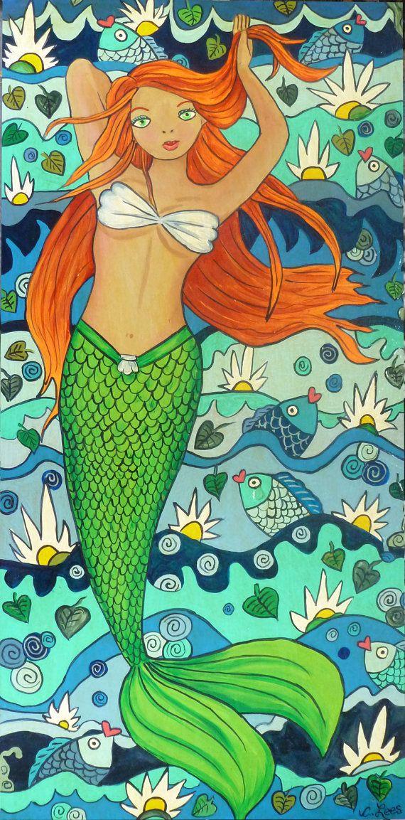 Whimsical+Mermaid++on+wood+panel.+Original+acylic+painting