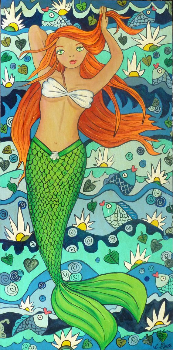Whimsical Mermaid  on wood panel. Original by GulfportArtist