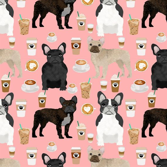 Frenchie Fabric - French Bulldogs & Coffee Fabric By Petfriendly - French Bulldog on Pink Cotton Fabric By the Yard With Spoonflower on Etsy, $10.50