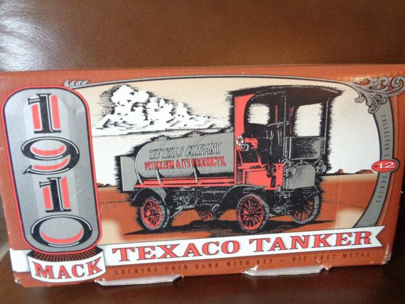 1910 Mack Texaco Tanker Toy Truck Collectible Coin Bank