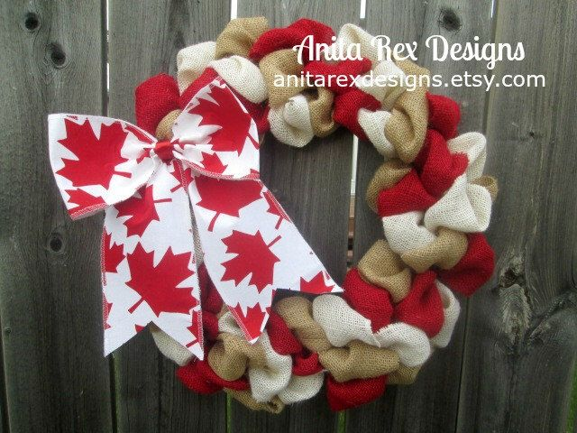 Canada Day Wreath, Canada Wreath, Canadian Decor, Maple Leaf by AnitaRexDesigns on Etsy https://www.etsy.com/listing/235742515/canada-day-wreath-canada-wreath-canadian