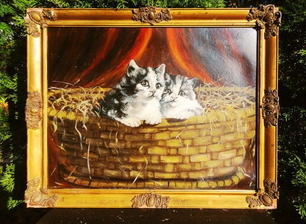 "Sophie Sperlich (1863-1906) ""Kittens"" Oil on Panel #Animalistpaintings"