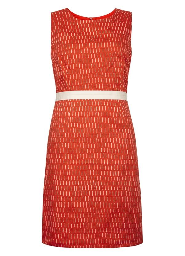 Tyra Print Cotton Dress in Vermillion