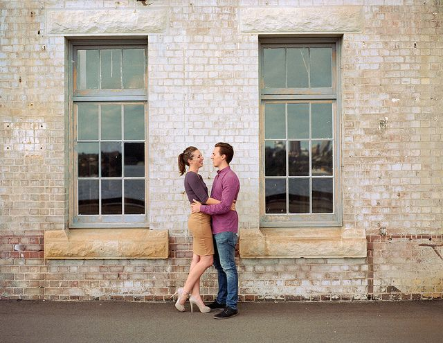 Film #engagement photography of a stylish and classy couple at Cockatoo Island, Sydney, by Jack Chauvel | http://www.jackchauvel.com