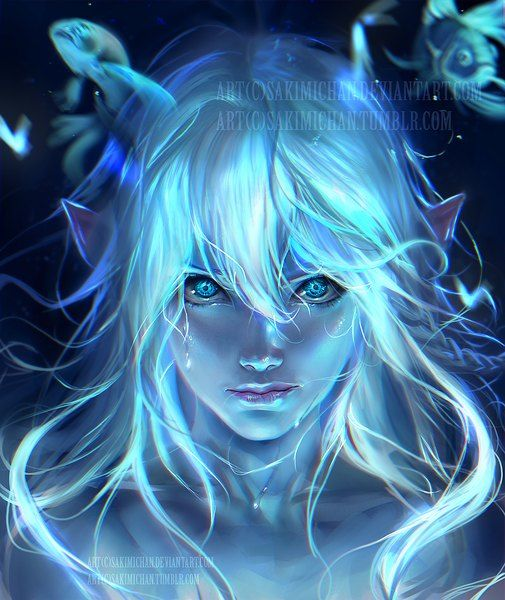 Anime picture 1000x1187 with  original sakimichan long hair single tall image looking at viewer blue eyes smile simple background fringe bare shoulders white hair signed lips braid (braids) pointy ears tears hair between eyes glowing realistic