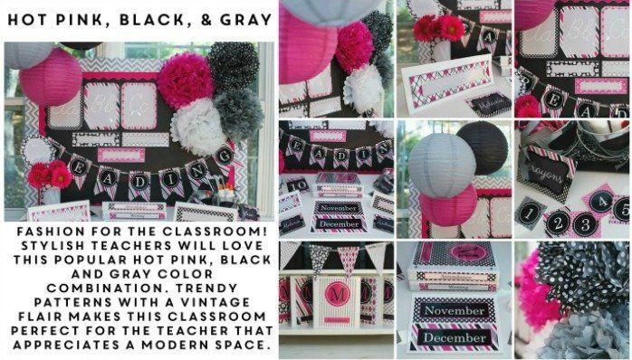 hot pink black gray grey classroom decor decoration couture stylish vintage polka dots stripes organization theme bulletin board chevron striped