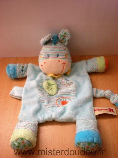 Doudou Zébre Kiabi baby Bleu rayures foulard jaune
