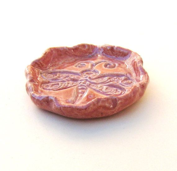 Ring Dish Dragonfly Peach Ceramic Stoneware Mini by midnightcoiler, $7.00