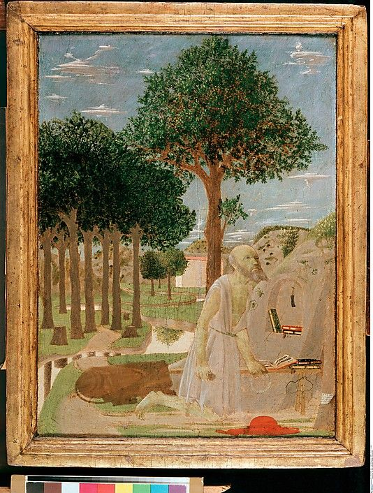 """Piero della Francesca: """"Saint Jerome in the Wilderness"""", 1450 The lines in the painting are soft and the lines of the trees appear delicate."""