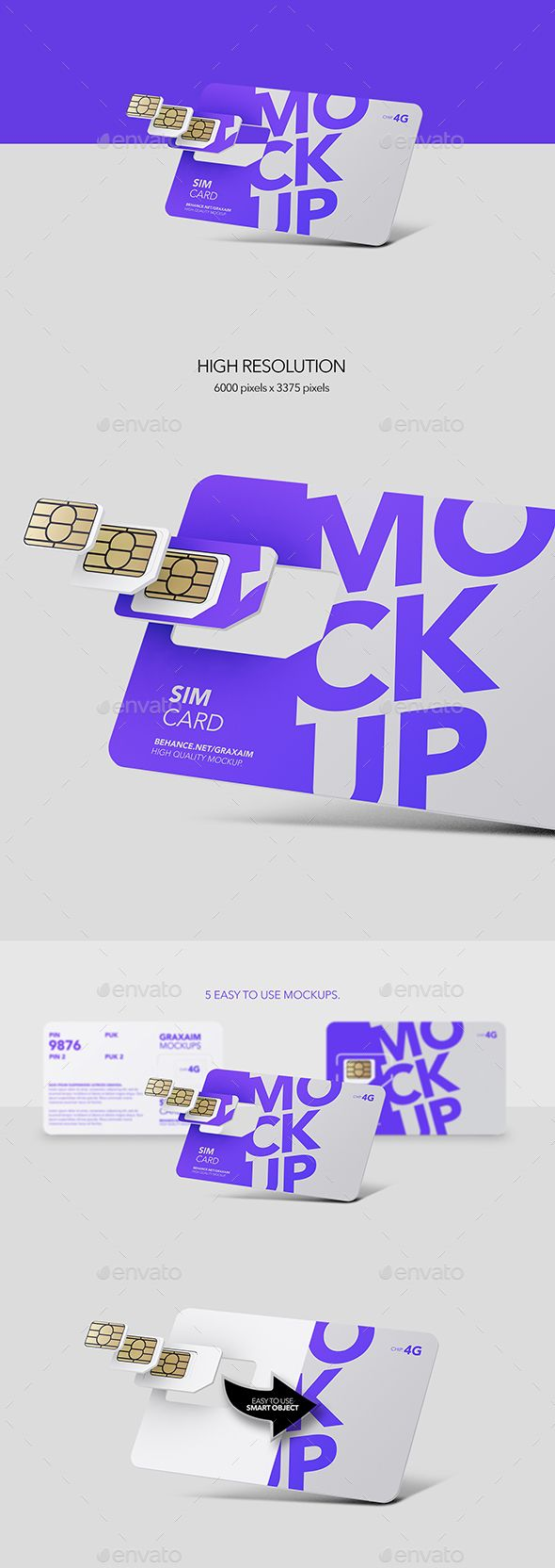 Sim Card Chip Mockup Packaging Template Design Paper Nano Card Template