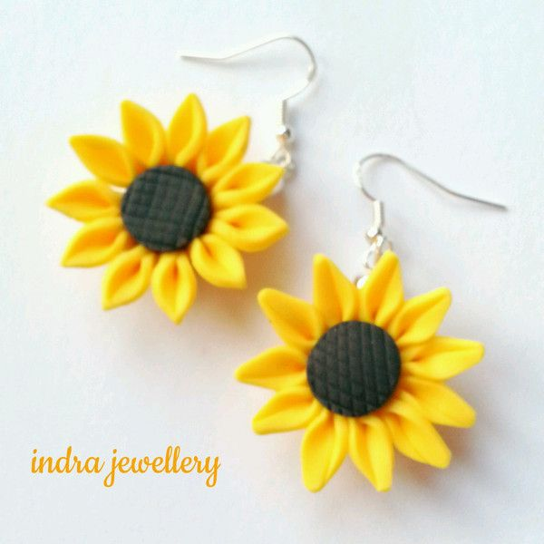 sunflower earrings ($7.17) ❤ liked on Polyvore featuring jewelry, earrings, sunflower jewelry, flower jewelry, long earrings, earrings jewelry and yellow dangle earrings