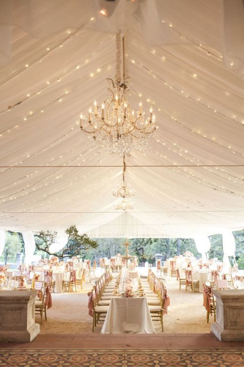 Gorgeous wedding tent, chandeliers