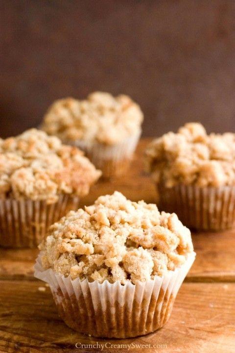 Coffee Cake Muffins Recipe by crunchycreamysweet.com