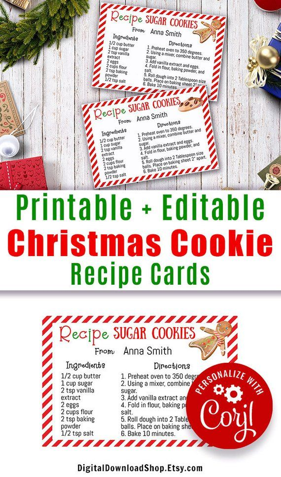 Christmas Cookie Recipe Card Printable Editable Christmas Cookie Recipe Template Editable Cookie Exchange Recipe Cards Instant Download Printable Recipe Cards Holiday Recipe Card Cookie Exchange Recipes