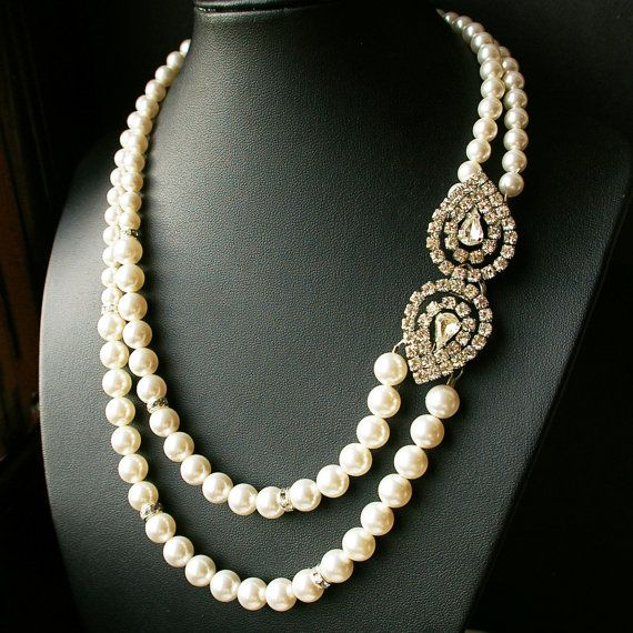 Art Deco Bridal Necklace Rhinestone and Pearl by luxedeluxe, $98.00