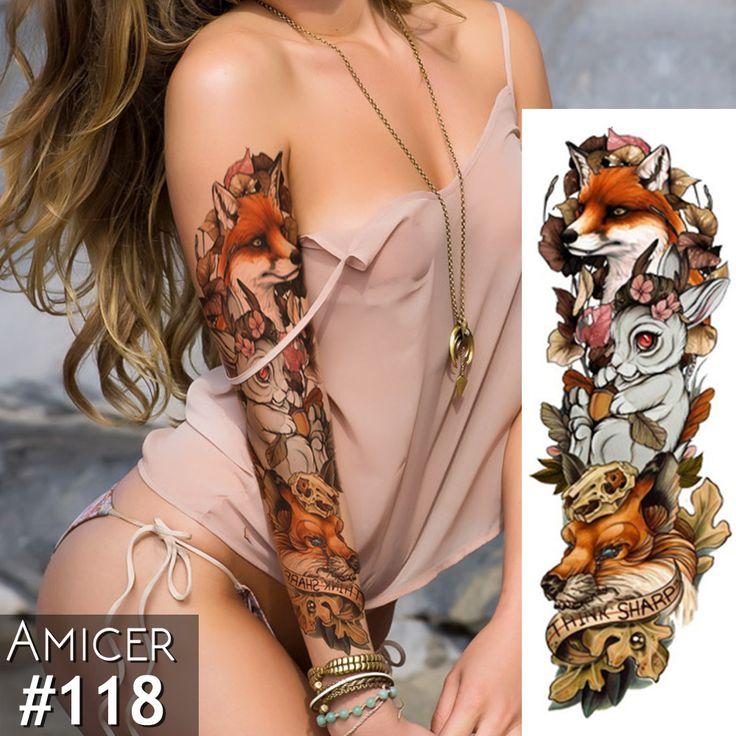 New 1 Piece Temporary Tattoo Sticker Fox Rabbit Full Flower Tattoo with Arm Body Art Big Large Fake Tattoo Sticker-in Temporary Tattoos from Beauty & Health on Aliexpress.com | Alibaba Group