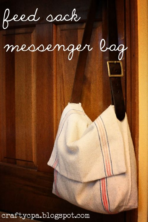 Feed sack messenger bag. Love this. Uses a belt for strap