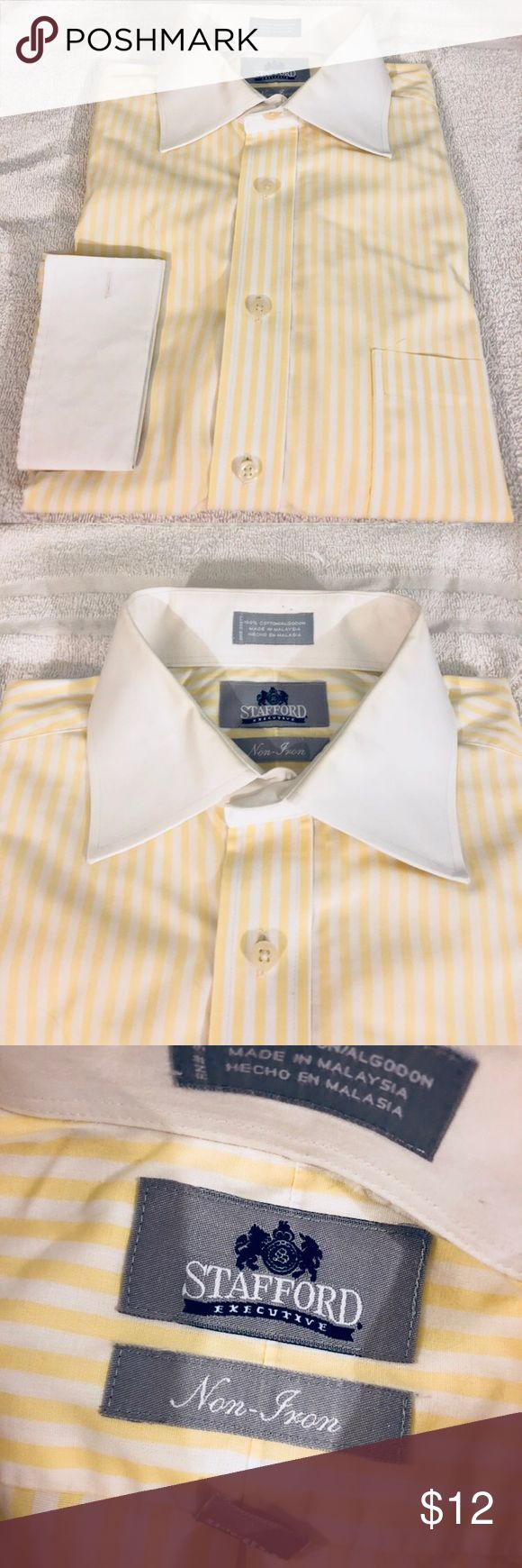 Stafford Yellow Stripe French Cuff Shirt 16 32/33 Stafford Executive Yellow and White Stripe White Collar French Cuff Dress Shirt size 16 32/33! Great condition!  Please make reasonable offers and bundle! Ask questions :) Stafford Shirts Dress Shirts