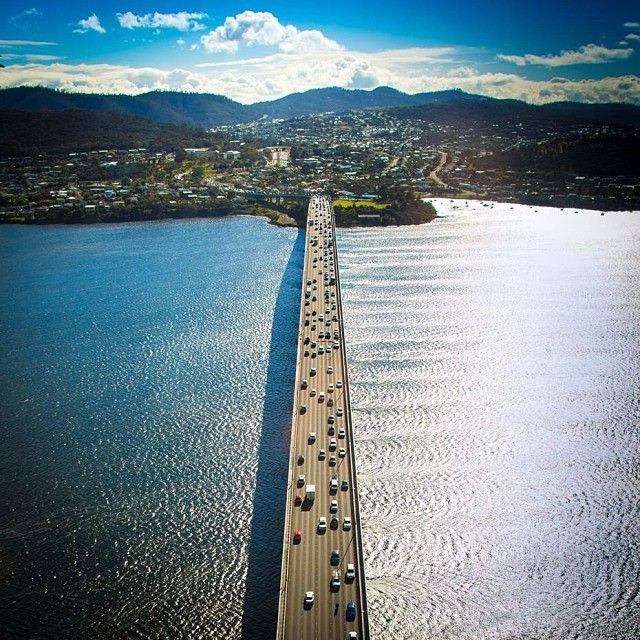 Crossing the Tasman Bridge. #tasmania #discovertasmania #bridge Image Credit: Graham Michael Freeman
